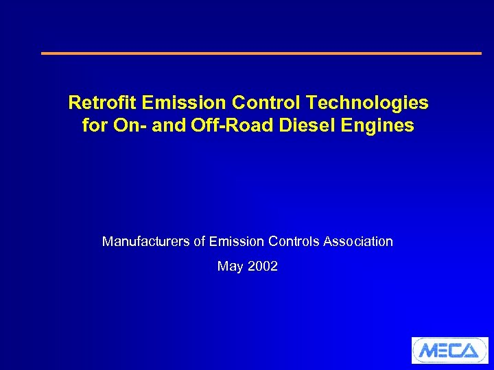 Retrofit Emission Control Technologies for On- and Off-Road Diesel Engines Manufacturers of Emission Controls