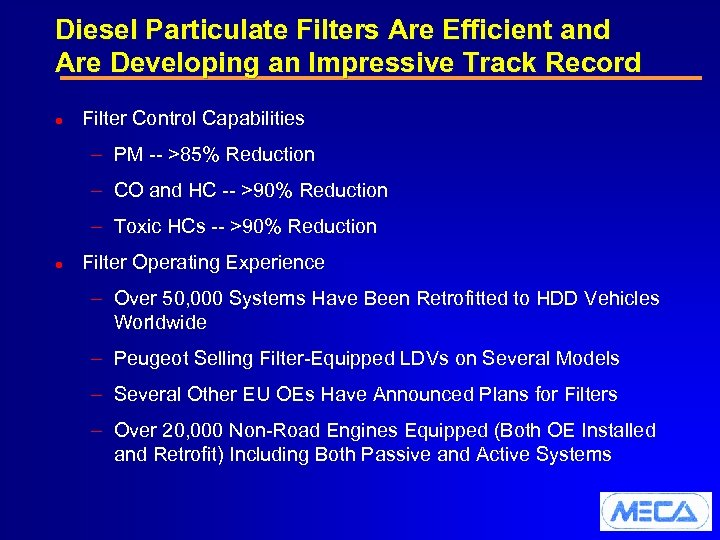 Diesel Particulate Filters Are Efficient and Are Developing an Impressive Track Record l Filter