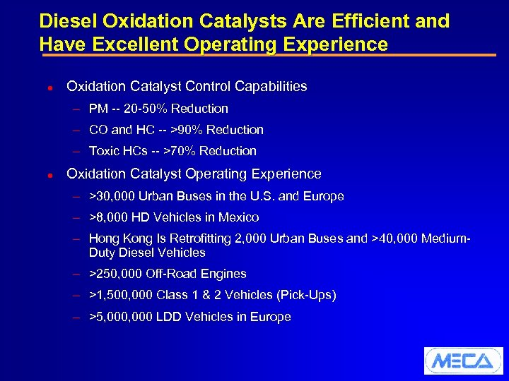 Diesel Oxidation Catalysts Are Efficient and Have Excellent Operating Experience l Oxidation Catalyst Control