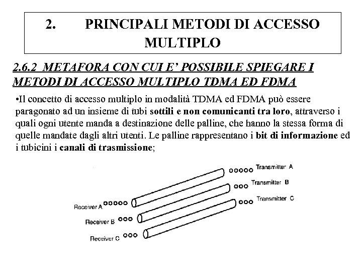 2. PRINCIPALI METODI DI ACCESSO MULTIPLO 2. 6. 2 METAFORA CON CUI E' POSSIBILE