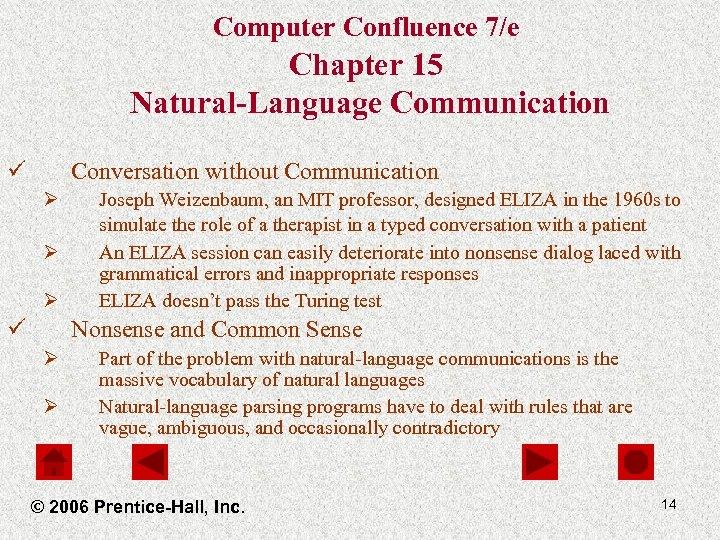 Computer Confluence 7/e Chapter 15 Natural-Language Communication ü Conversation without Communication Ø Ø Ø