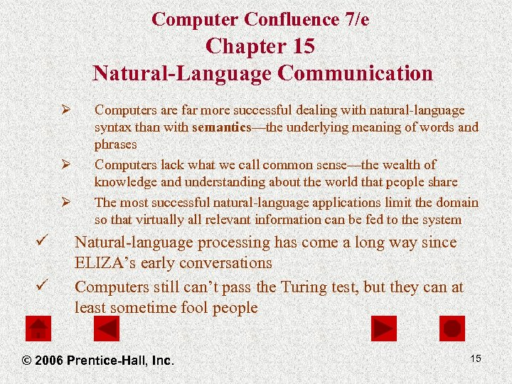 Computer Confluence 7/e Chapter 15 Natural-Language Communication Ø Ø Ø ü ü Computers are