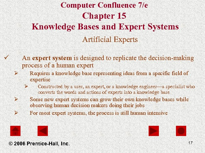 Computer Confluence 7/e Chapter 15 Knowledge Bases and Expert Systems Artificial Experts ü An