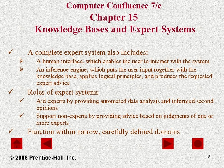 Computer Confluence 7/e Chapter 15 Knowledge Bases and Expert Systems ü A complete expert