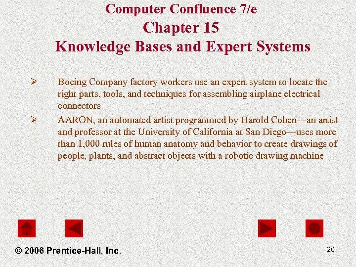 Computer Confluence 7/e Chapter 15 Knowledge Bases and Expert Systems Ø Ø Boeing Company