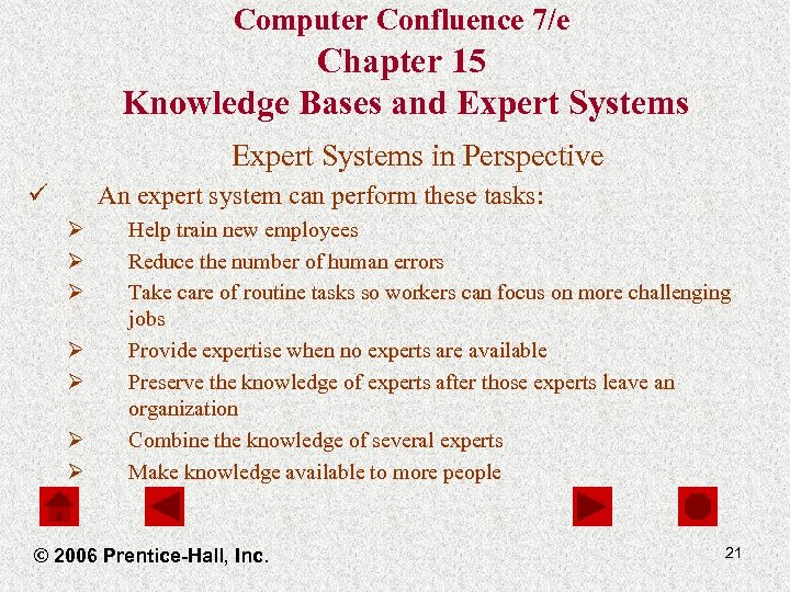 Computer Confluence 7/e Chapter 15 Knowledge Bases and Expert Systems in Perspective ü An