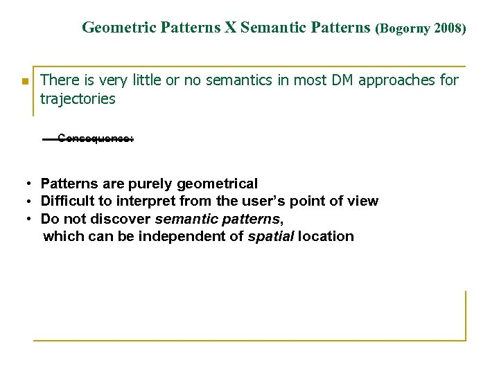 Geometric Patterns X Semantic Patterns (Bogorny 2008) n There is very little or no