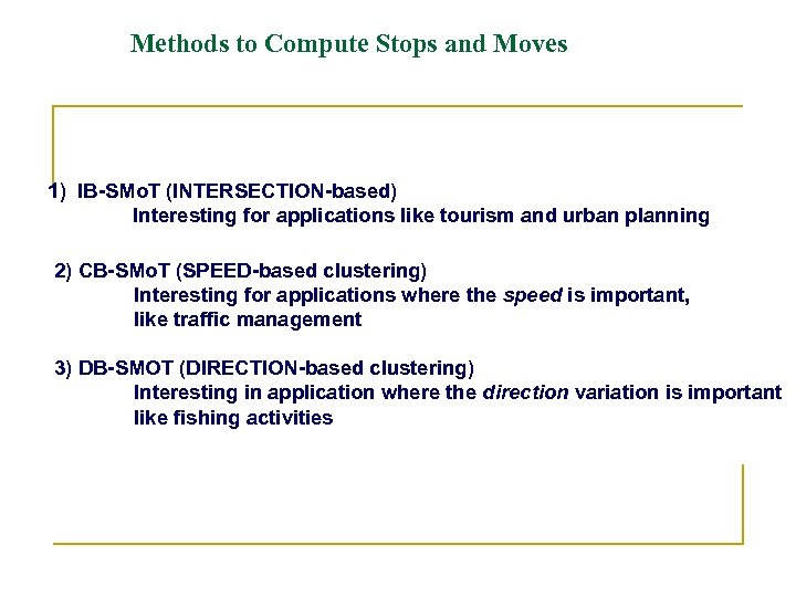 Methods to Compute Stops and Moves 1) IB-SMo. T (INTERSECTION-based) Interesting for applications like