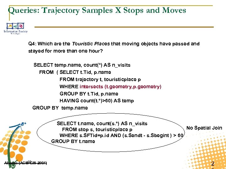 Queries: Trajectory Samples X Stops and Moves Q 4: Which are the Touristic Places