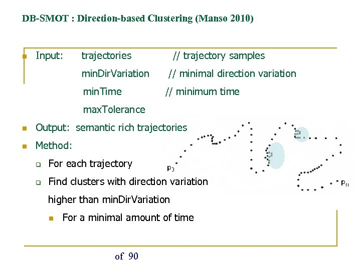 DB-SMOT : Direction-based Clustering (Manso 2010) n Input: trajectories min. Dir. Variation min. Time