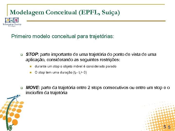 Modelagem Conceitual (EPFL, Suíça) Primeiro modelo conceitual para trajetórias: q STOP: parte importante de
