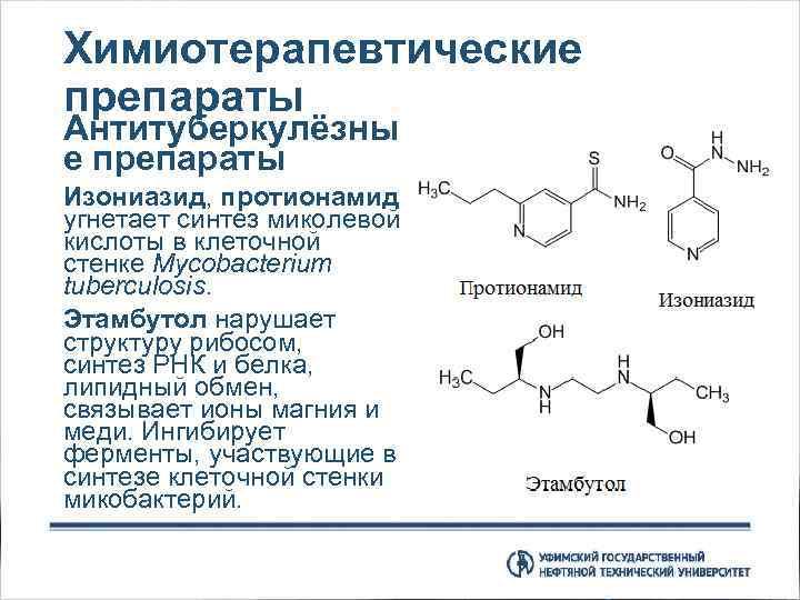 Химиотерапевтические препараты Антитуберкулёзны е препараты Изониазид, протионамид угнетает синтез миколевой кислоты в клеточной стенке