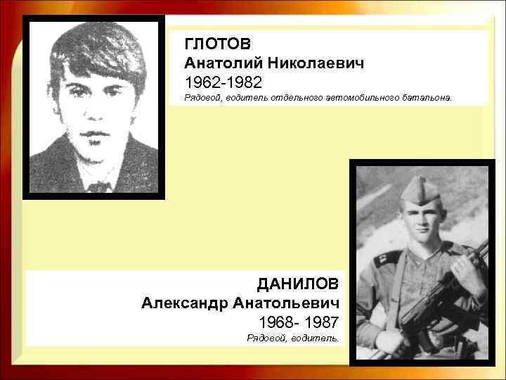 ГЛОТОВ Анатолий Николаевич 1962 -1982 Рядовой, водитель отдельного автомобильного батальона. ДАНИЛОВ Александр Анатольевич 1968