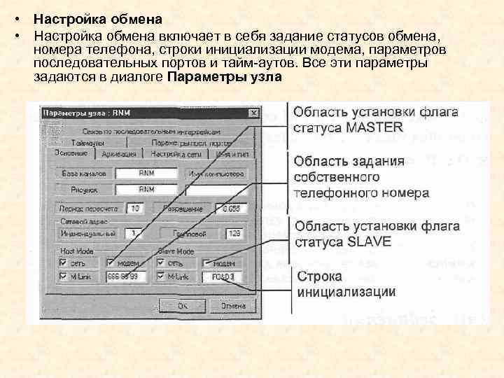 • Настройка обмена включает в себя задание статусов обмена, номера телефона, строки инициализации