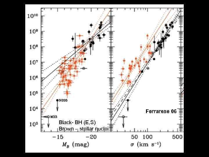 Ferrarese 06 Black- BH (E, S) Brown – stellar nuclei
