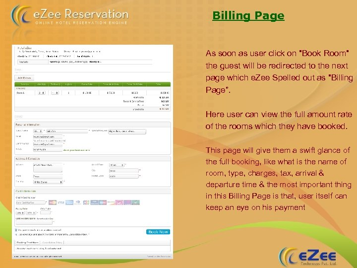 Billing Page As soon as user click on