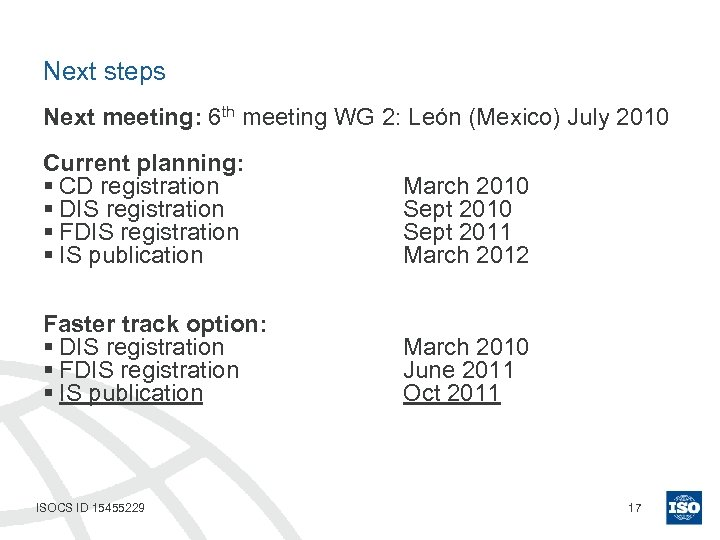Next steps Next meeting: 6 th meeting WG 2: León (Mexico) July 2010 Current
