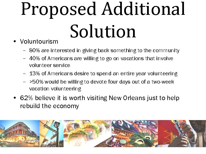 Proposed Additional Solution • Voluntourism – 80% are interested in giving back something to