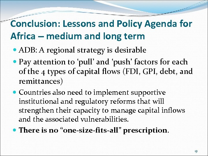 Conclusion: Lessons and Policy Agenda for Africa – medium and long term ADB: A