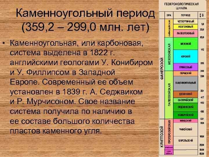 Каменноугольный период (359, 2 – 299, 0 млн. лет) • Каменноугольная, или карбоновая, система