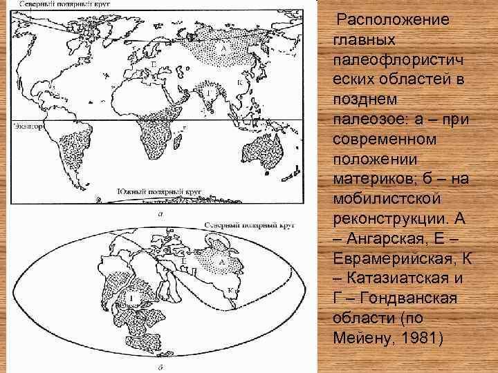 Расположение главных палеофлористич еских областей в позднем палеозое: а – при современном положении материков;