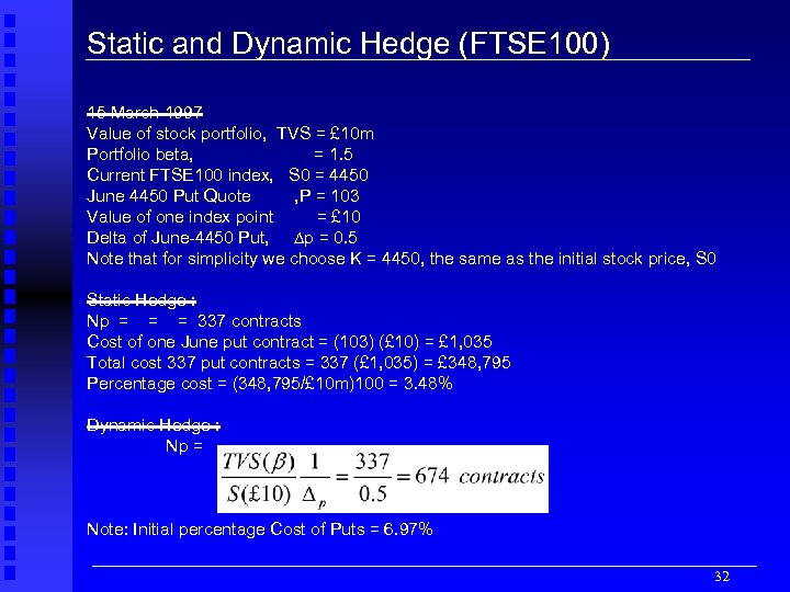 Static and Dynamic Hedge (FTSE 100) 15 March 1997 Value of stock portfolio, TVS