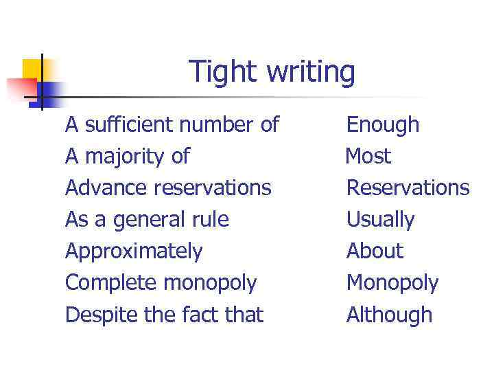 Tight writing A sufficient number of Enough A majority of Most Advance reservations Reservations