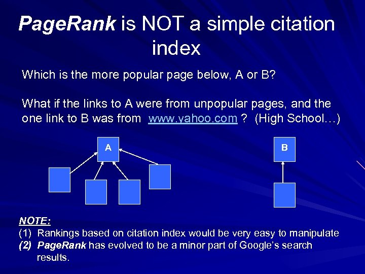 Page. Rank is NOT a simple citation index Which is the more popular page