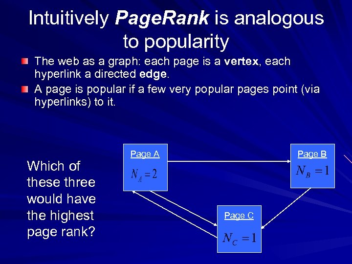 Intuitively Page. Rank is analogous to popularity The web as a graph: each page