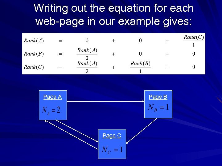 Writing out the equation for each web-page in our example gives: Page A Page