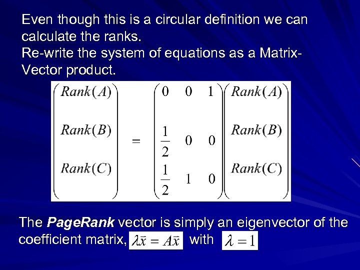 Even though this is a circular definition we can calculate the ranks. Re-write the