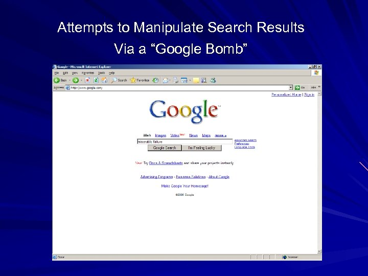 """Attempts to Manipulate Search Results Via a """"Google Bomb"""""""
