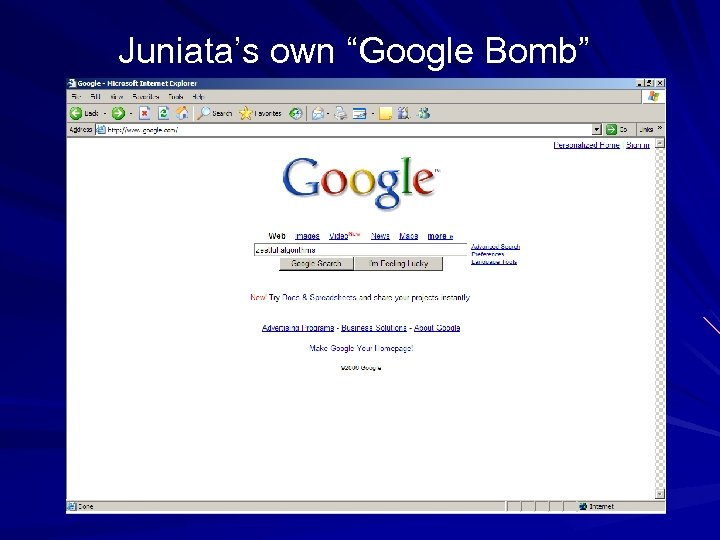 "Juniata's own ""Google Bomb"""