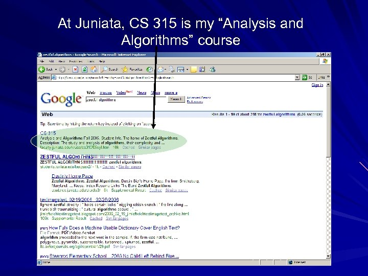 "At Juniata, CS 315 is my ""Analysis and Algorithms"" course"