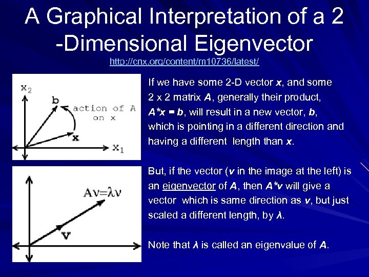 A Graphical Interpretation of a 2 -Dimensional Eigenvector http: //cnx. org/content/m 10736/latest/ If we
