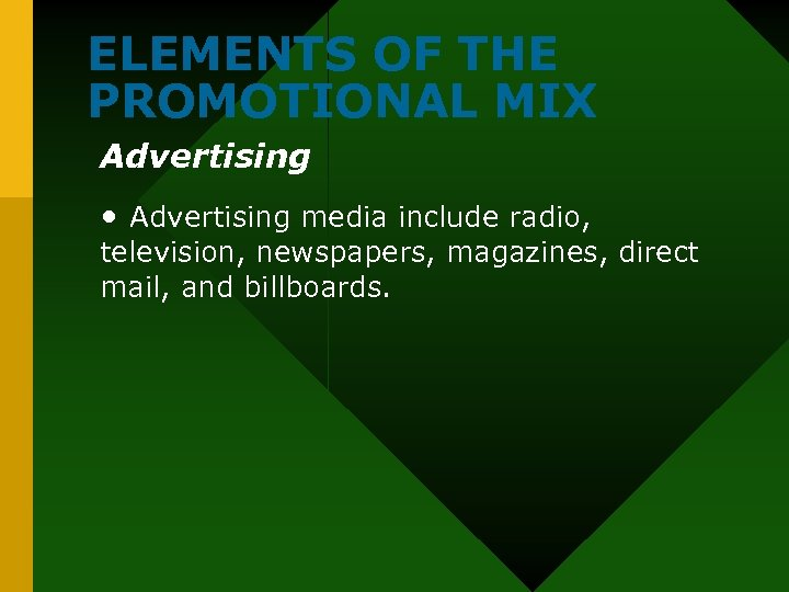 ELEMENTS OF THE PROMOTIONAL MIX Advertising • Advertising media include radio, television, newspapers, magazines,