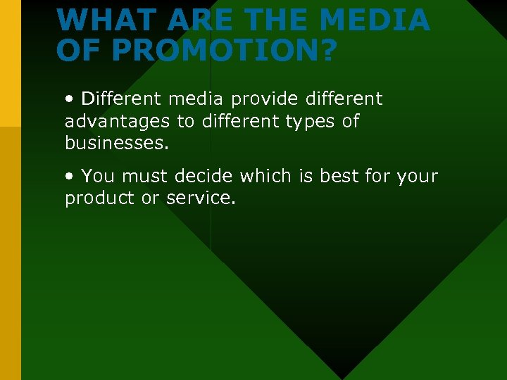 WHAT ARE THE MEDIA OF PROMOTION? • Different media provide different advantages to different