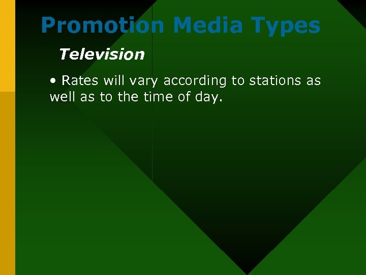 Promotion Media Types Television • Rates will vary according to stations as well as