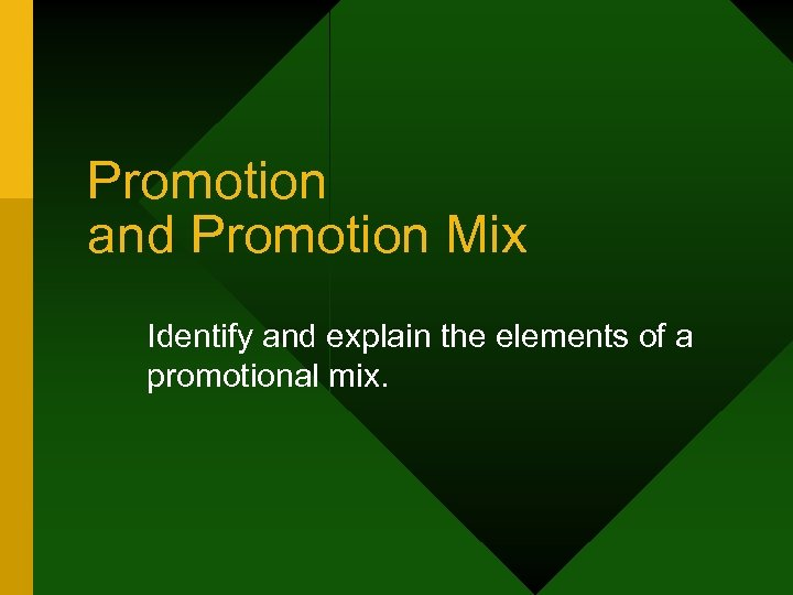 Promotion and Promotion Mix Identify and explain the elements of a promotional mix.