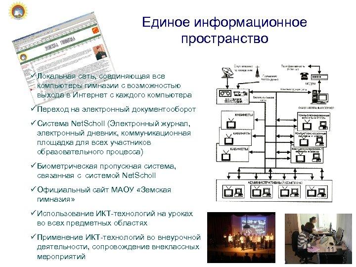 Единое информационное пространство ü Локальная сеть, соединяющая все компьютеры гимназии с возможностью выхода в