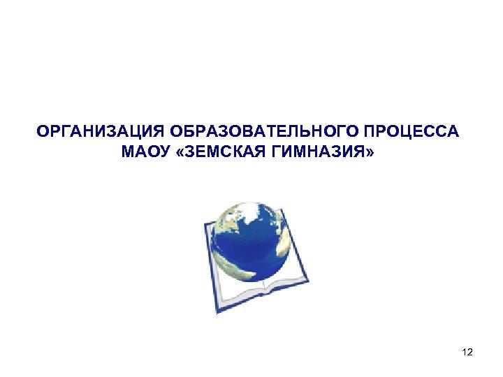 ОРГАНИЗАЦИЯ ОБРАЗОВАТЕЛЬНОГО ПРОЦЕССА МАОУ «ЗЕМСКАЯ ГИМНАЗИЯ» 12
