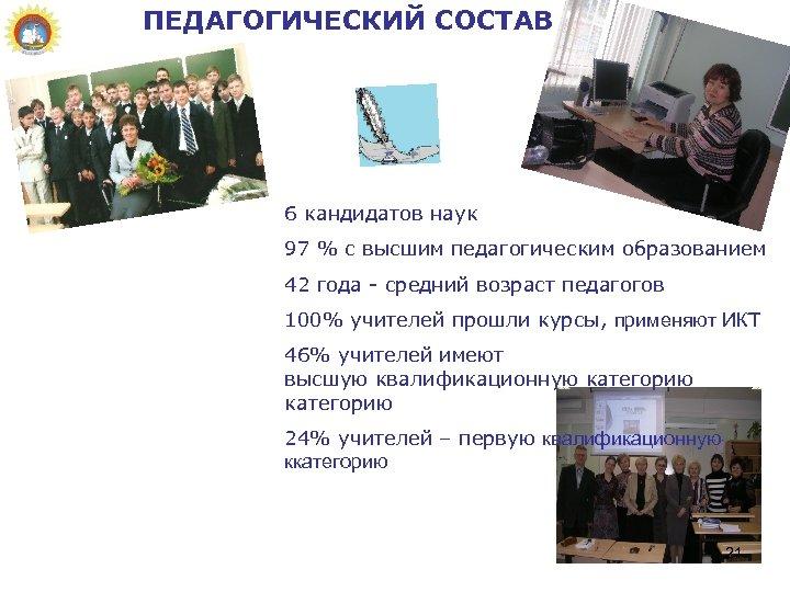 ПЕДАГОГИЧЕСКИЙ СОСТАВ 6 кандидатов наук 97 % с высшим педагогическим образованием 42 года -