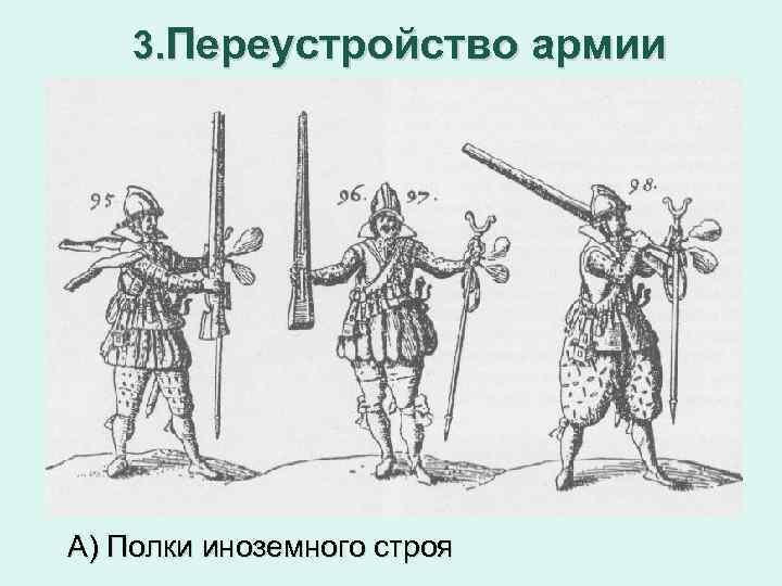 3. Переустройство армии А) Полки иноземного строя