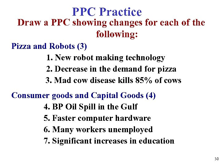 PPC Practice Draw a PPC showing changes for each of the following: Pizza and