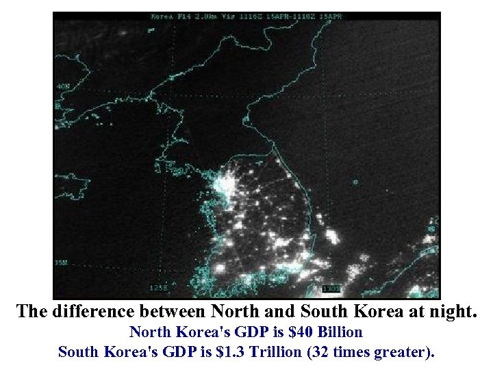 The difference between North and South Korea at night. North Korea's GDP is $40