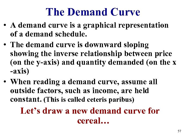 The Demand Curve • A demand curve is a graphical representation of a demand