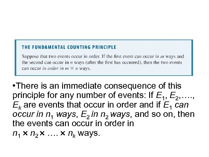 The Fundamental Counting Principle • There is an immediate consequence of this principle for