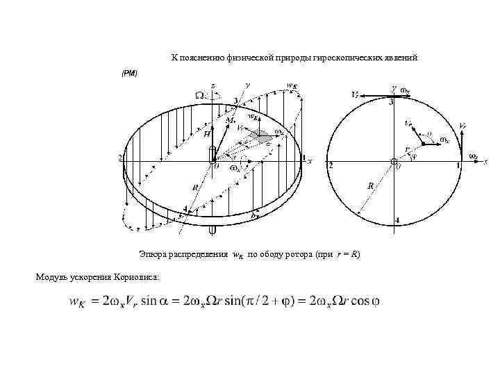 К пояснению физической природы гироскопических явлений (РМ) Эпюра распределения w. K по ободу ротора