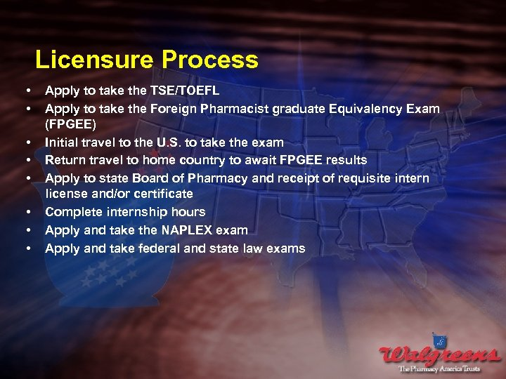 Licensure Process • • Apply to take the TSE/TOEFL Apply to take the Foreign