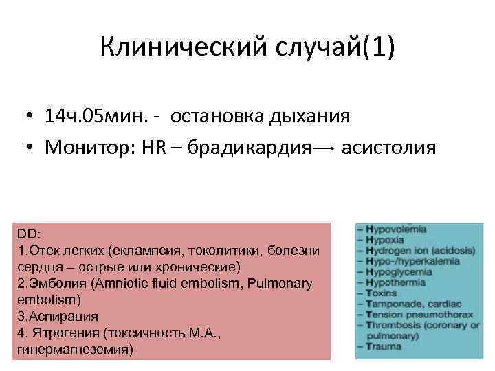 Клинический случай(1) • 14 ч. 05 мин. - остановка дыхания • Монитор: HR –